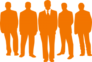 an orange image of five people