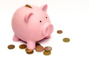 a piggy bank with some coins