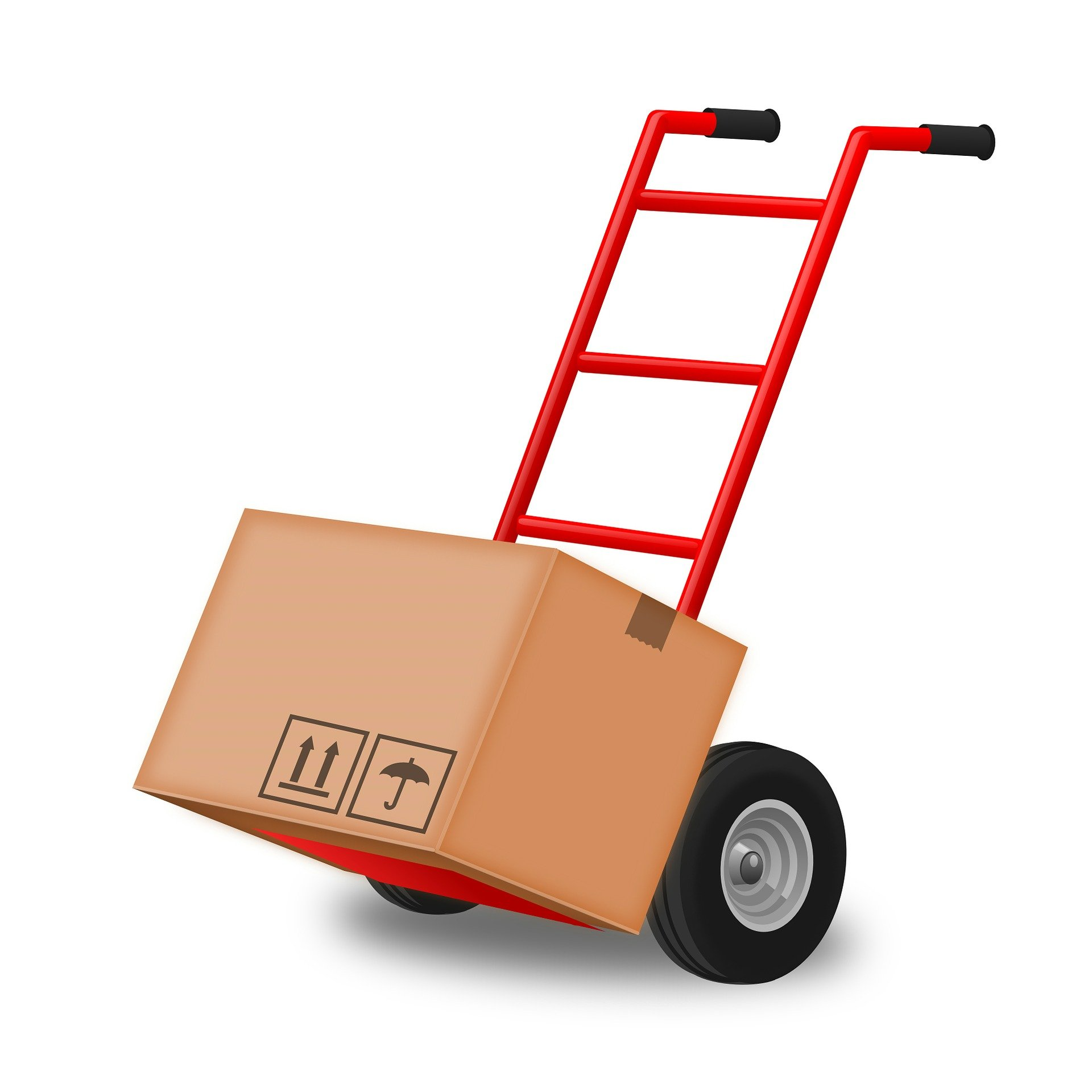 a hand truck with a small load