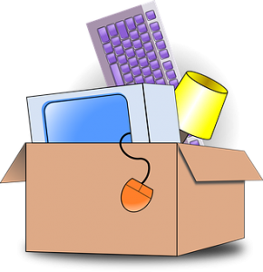 The box full of stuff can be easily packed with professional help from Aventura movers