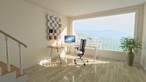 Decorate your office space with natural lighting and a big window.