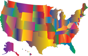 Map of America, with all the states in different colors.
