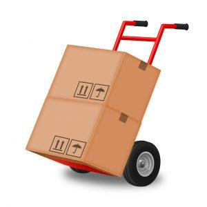 Wilton Manors Movers hand truck on a white background