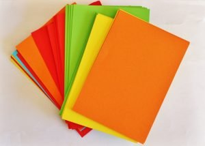 Papers of different colors