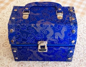 Blue jewelry box with Asian art patterns