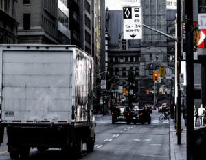 This white moving truck on a Manhattan downtown street is the largest moving truck you can rent.