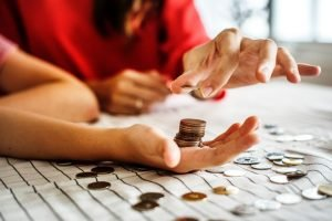 Counting coins.