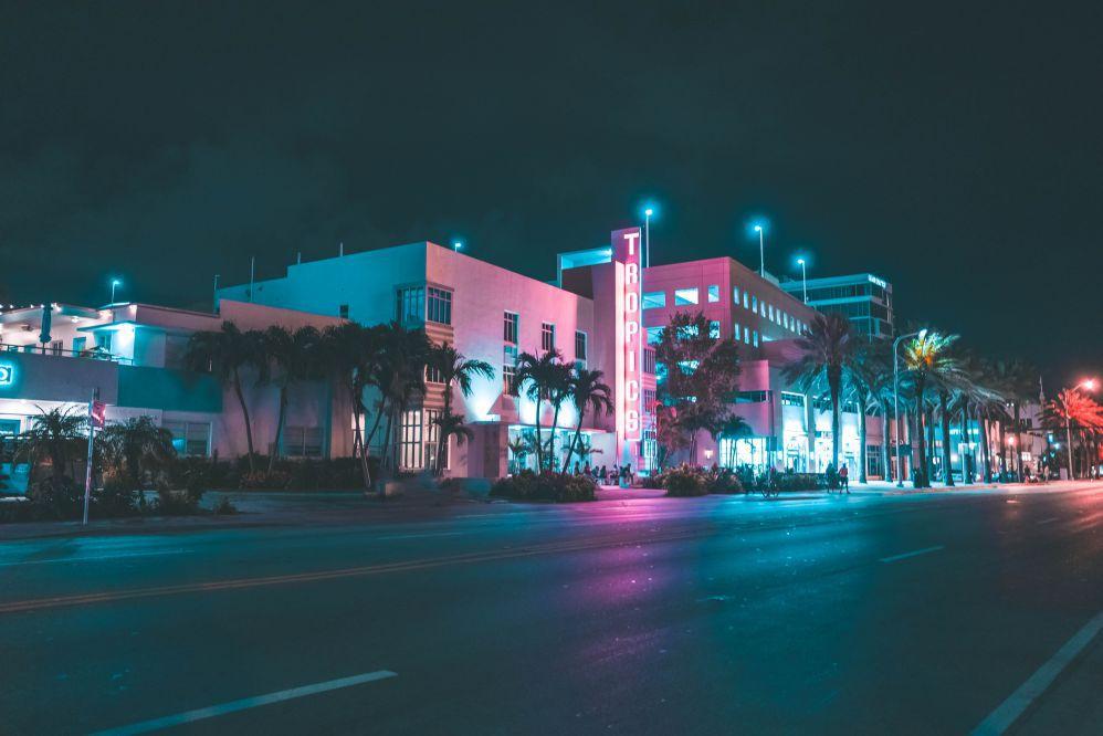 Miami street at night.