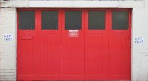 Red garage doors.