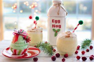 Eggnog and a Christmas dessert.