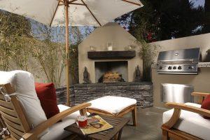 An outdoor kitchen.