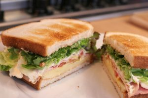 Toast sandwich with ham and lettuce