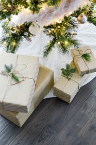 Wrapped boxes under the tree