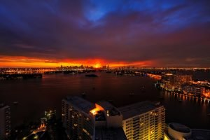 Sunset view at Downtown Miami