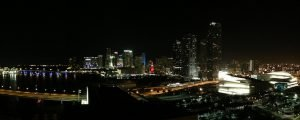 Skyline view of Miami at night
