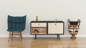 chair, cabinet, vase