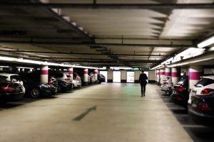 man in parking lot