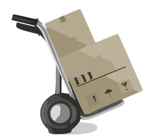 dolly cart with boxes