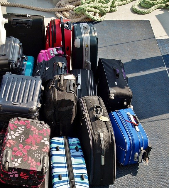 Packed suitcases after you downsize your home