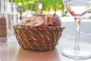 A basket with bread in a Miami restaurant