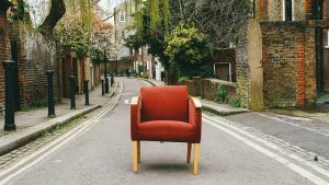 An armchair on the road